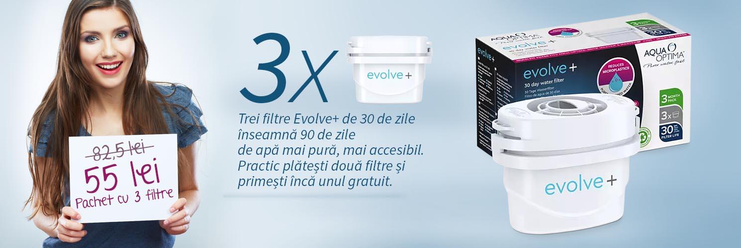 Pachet cu 3 filtre Aqua Optima Evolve+ pentru cani filtrante